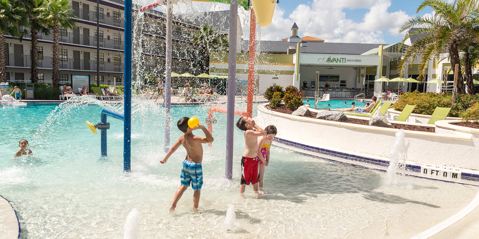 Kids Playing in Splash Zone